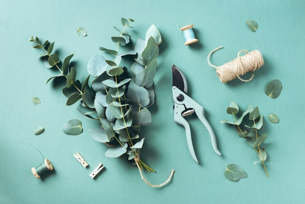 Eucalyptus bouquet creating with baby blue eucalyptus branches