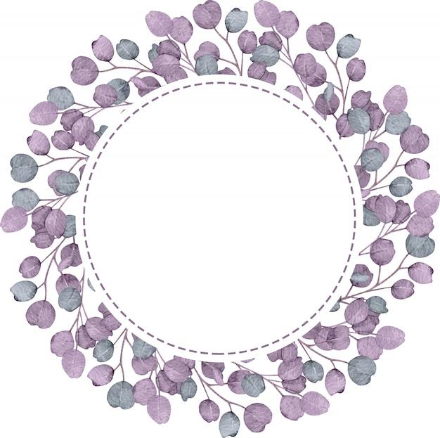 白い背景の上のユーカリサークル紫フレーム。水彩の手描きイラスト。