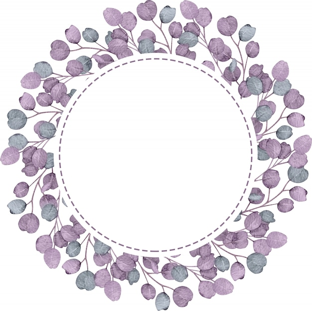 Eucalyptus circle purple frame on the white background. watercolor hand-drawn illustration.