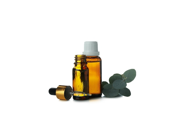 Eucalyptus essential oil in dropper bottles isolated on white background