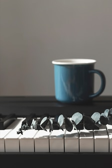 Эвкалипт в вазе на пианино фон Premium Фотографии