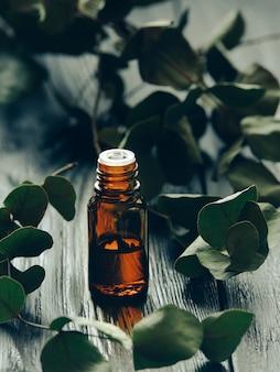 ユーカリ油とユーカリの葉。