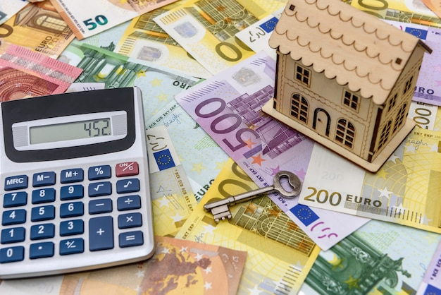 Euro banknotes as background for small toy house Premium Photo