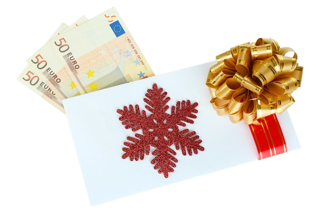 白で隔離の弓と封筒のユーロ紙幣
