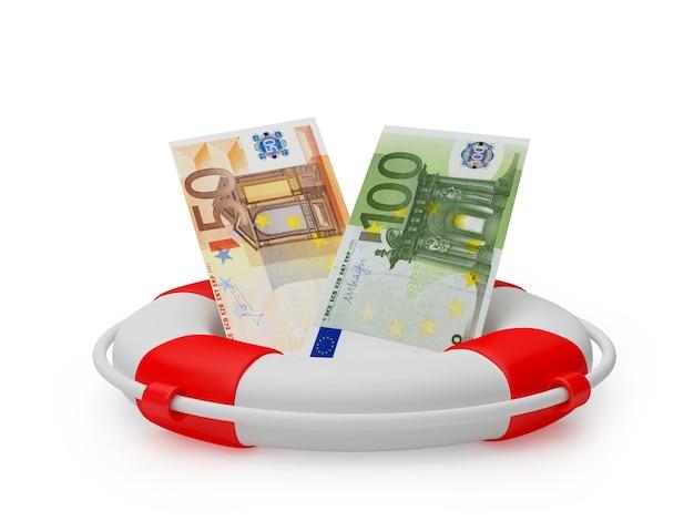 救命浮輪3dのユーロ紙幣