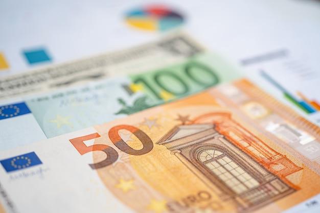 チャート方眼紙にユーロ紙幣のお金