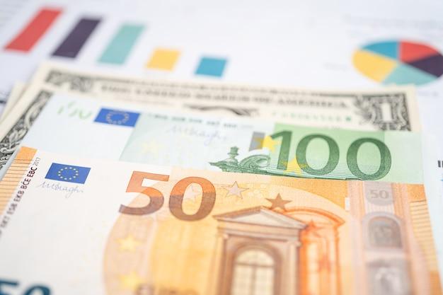 ユーロ紙幣の方眼紙でのお金金融開発銀行口座統計