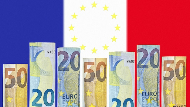 Euro banknotes rolled up in a tube on the background of the flag of france