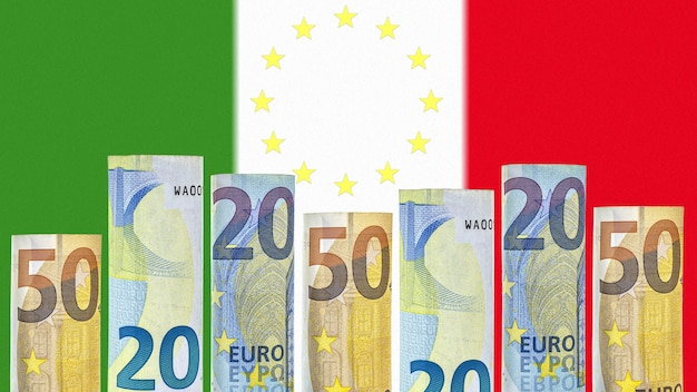 Euro banknotes rolled up in a tube on the background of the flag of italy