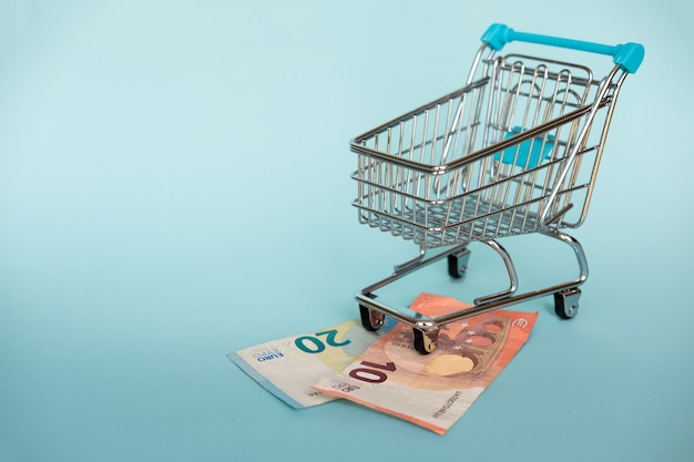 Euro banknotes and shopping cart on blue. financial and buying concept.
