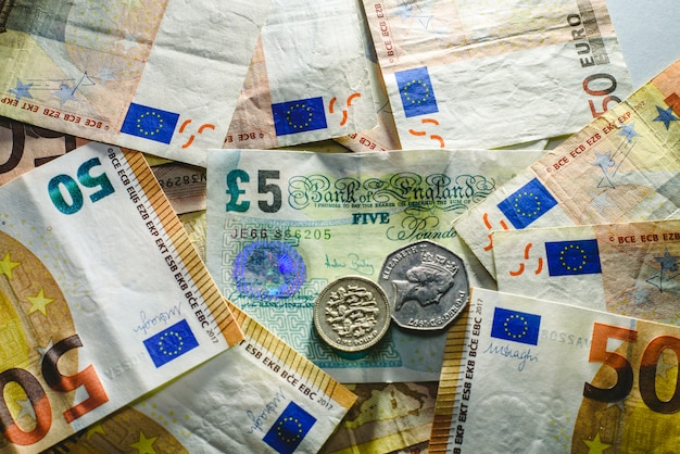Euro bills harassing the english economy, brexit concept