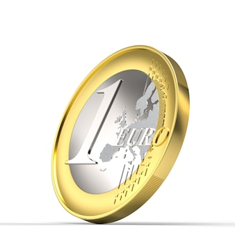 Монета евро 3d визуализации на белом фоне