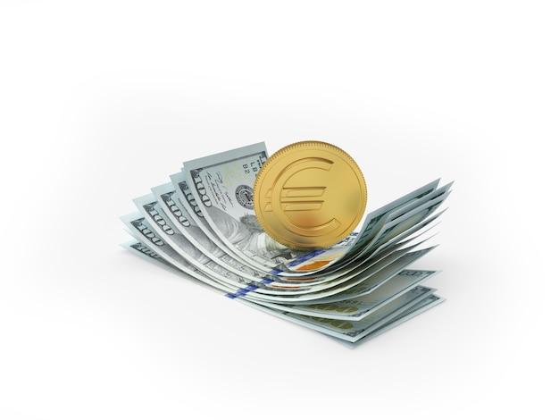 Euro coin on dollar bills in 3d