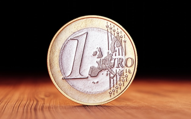 Euro coin on wood. 3d render