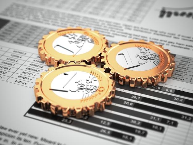 Монеты евро как шестерня на бизнес-графике финансовая концепция 3d