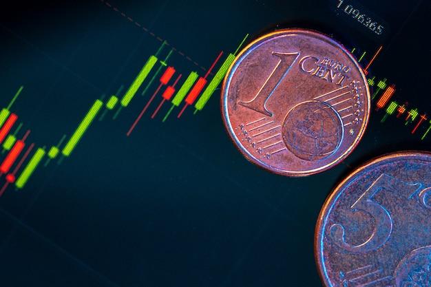 Монеты евро на биржевом графике