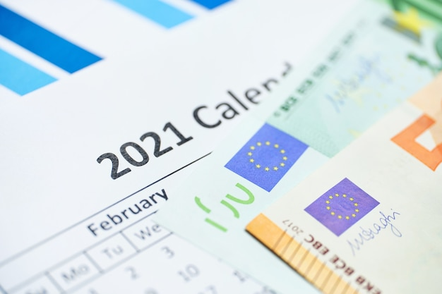 Euro currency concept on calendar of year