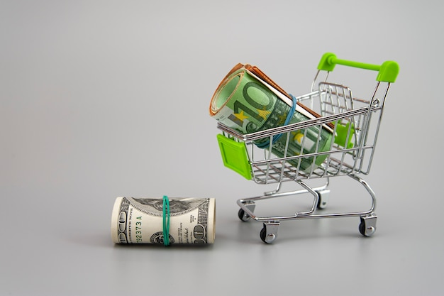 Euro and dollar banknotes in rolls with supermarket trolley on gray background