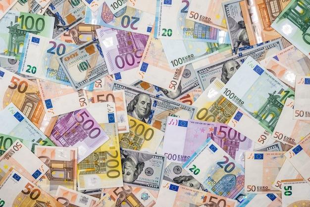Euro and dollars banknotes