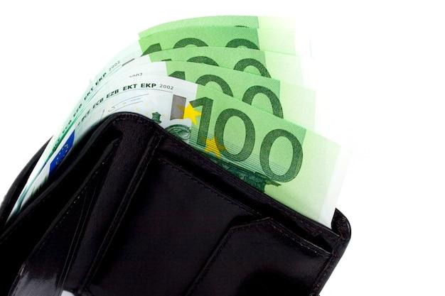 Euro and a leather purse closeup on white