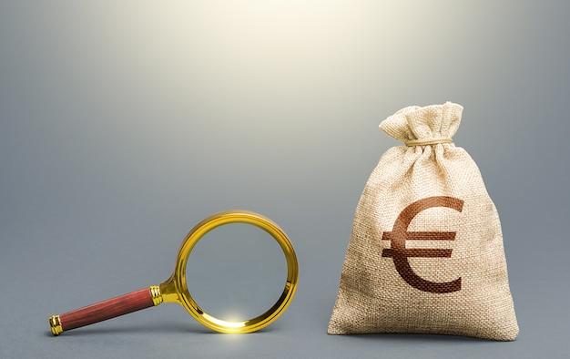 ユーロマネーバッグと虫眼鏡。資本の起源と資金の合法性