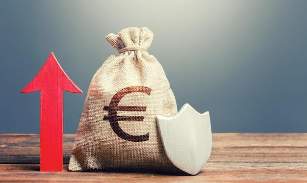 盾と赤い矢印が上向きのユーロのお金の袋
