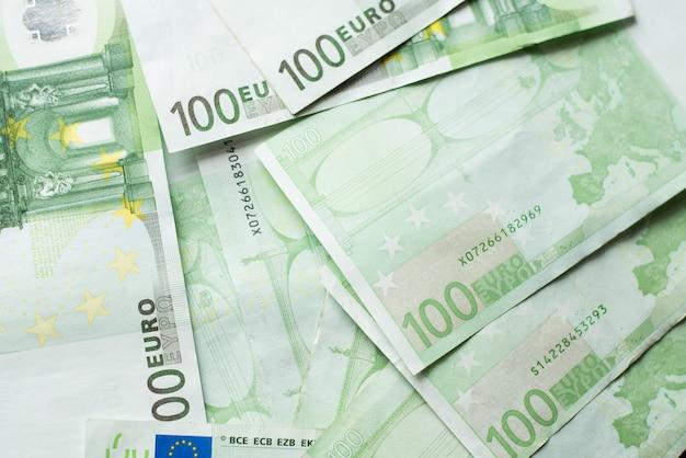 Euro money bank. euro bills background. one hundred euro bills