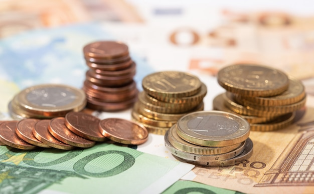 Euro money banknotes and coins