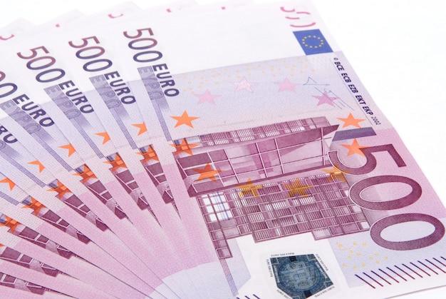 ユーロのお金をクローズアップ