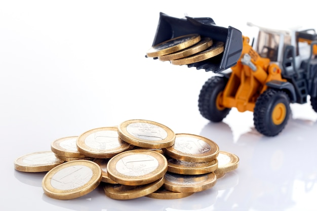 Euro money coins and loader on white space