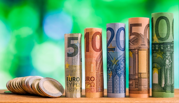 Euro rolled banknotes.