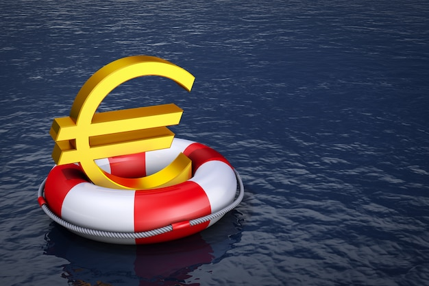 A euro sign on the lifebuoy. 3d rendering.