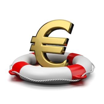Euro sign on a lifebuoy