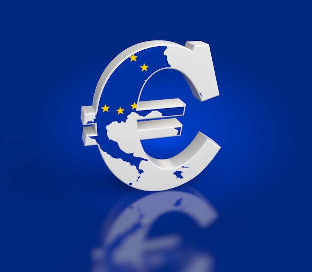 Euro sign with map texture on a blue background