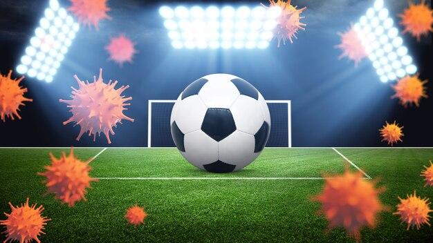 ユーロサッカーキャンセルイベントのコンセプト。コロナウイルスマスク付きボール