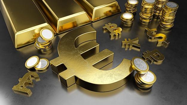 Евро выделяется на фоне других валют укреплением рубля. фон фондовой биржи, банковское дело или финансовая концепция.