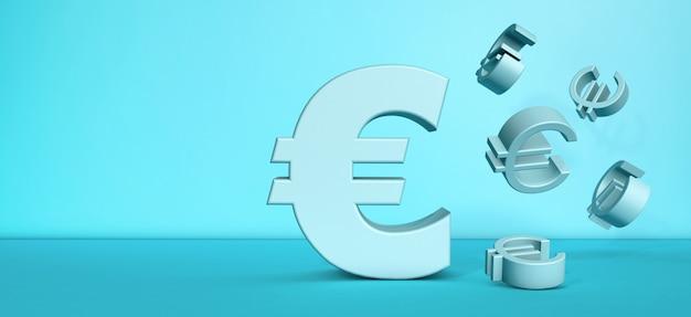 Euro symbol falling flying on blue background