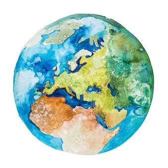 전 세계의 유럽과 아프리카. 지구 행성. 수채화.