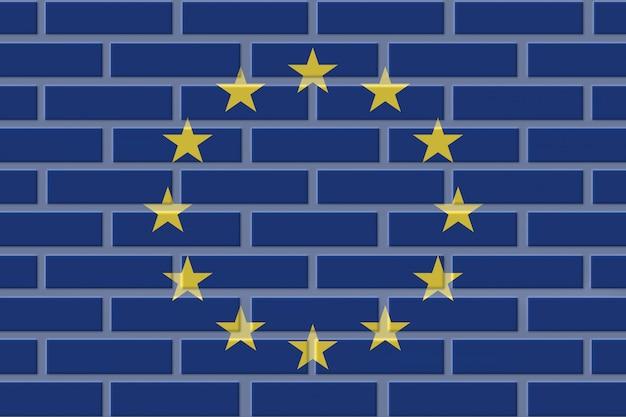 ヨーロッパeuレンガ旗イラスト