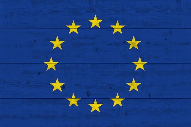Europe eu flag painted on old wood plank