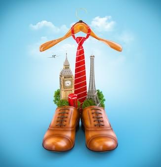 남성용 갈색 신발의 유럽 기념물