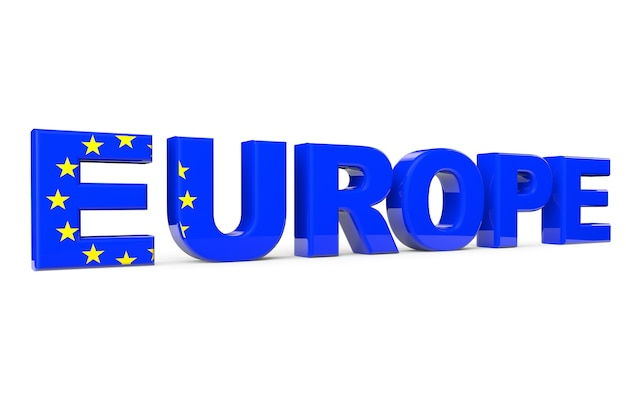 Europe sign as flag on a white background
