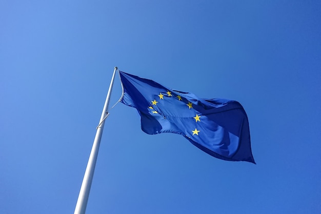 European flag blowing waving in wind