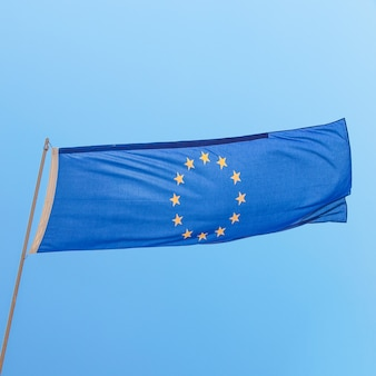European flag over blue sky