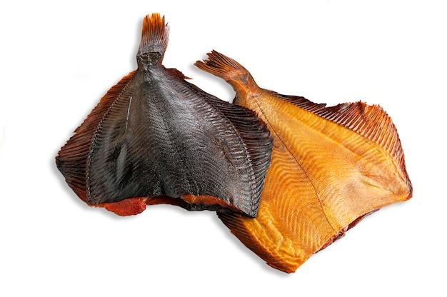 European flounder. headless. smoked. isolated. white background.