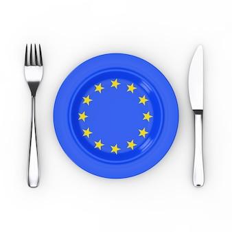 Европейская еда или концепция кухни. вилка, нож и тарелка с флагом ес на белом фоне. 3d рендеринг