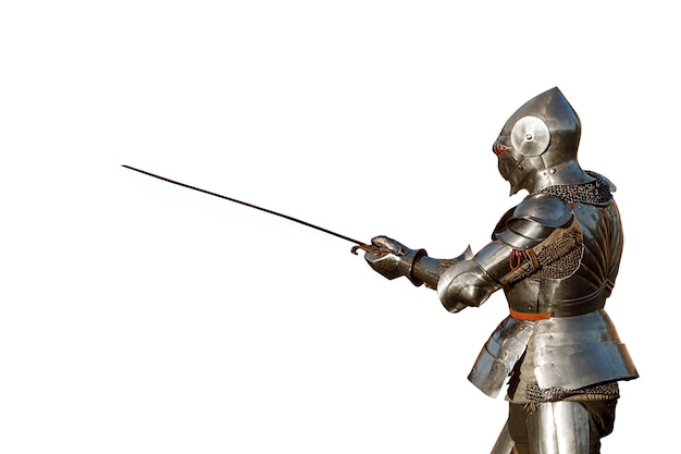 European knight in armor isolated on white background