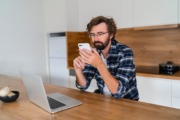 European man  works from home