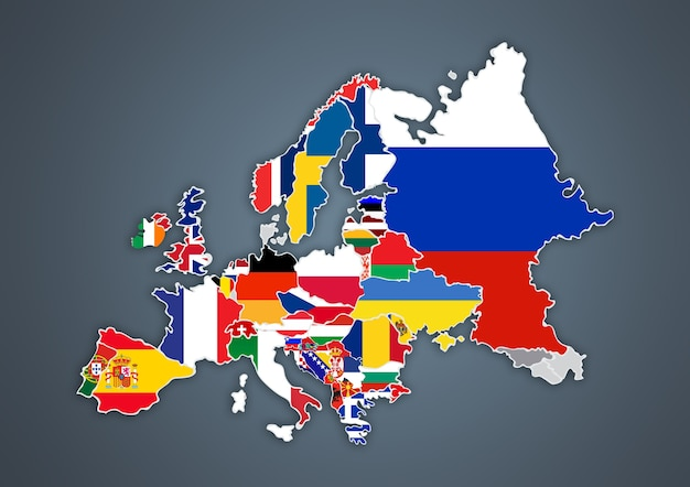 European map with national borders with countries flags, on gray background