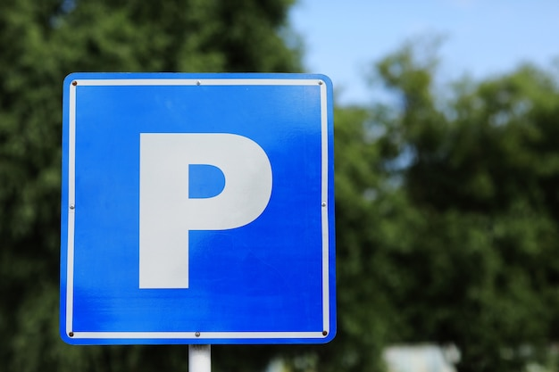 European parking sign on roadside